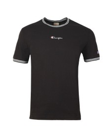 Champion Reverse Weave Mens Black Tipped Neck T Shirt