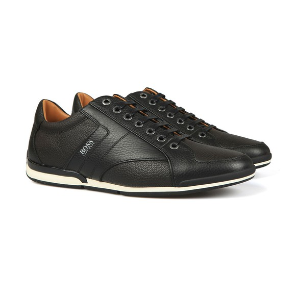 BOSS Mens Black Casual Saturn Low Leather Trainer