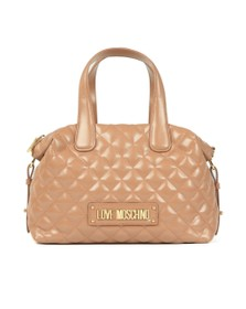 Love Moschino Womens Brown Quilted Bowler Bag
