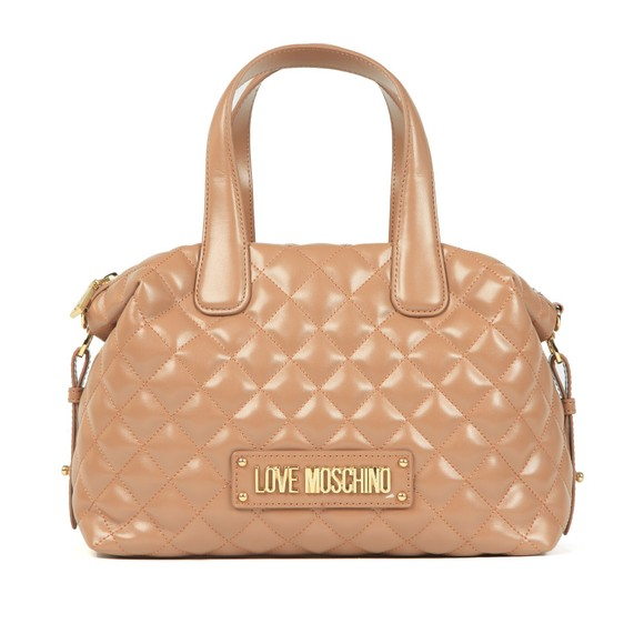 Love Moschino Womens Brown Quilted Bowler Bag main image
