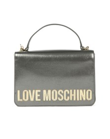 Love Moschino Womens Grey Metallic Logo Handle Bag