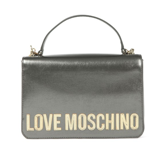 Love Moschino Womens Grey Metallic Logo Handle Bag main image