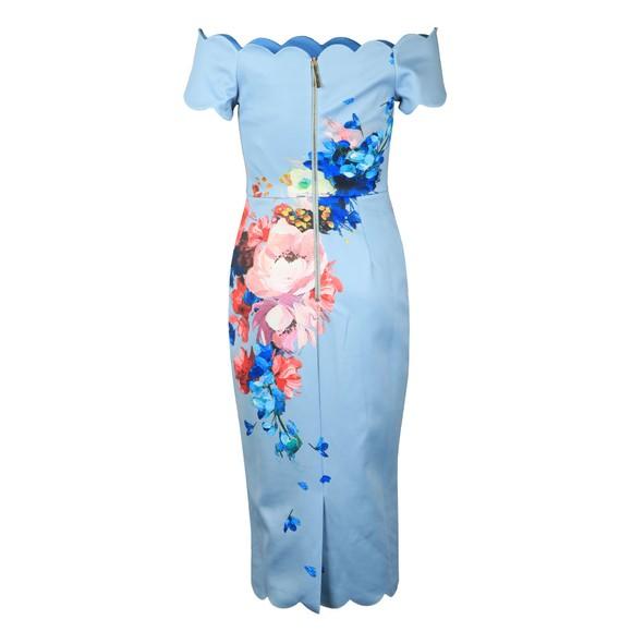 Ted Baker Womens Blue Hailly Raspberry Ripple Bardot Dress main image