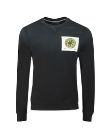 Kent & Curwen Mens Black Stone Roses Lemon Patch Sweatshirt