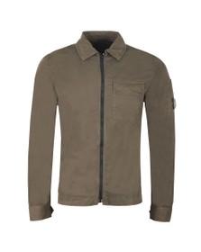 C.P. Company Mens Green Gabardine Overshirt