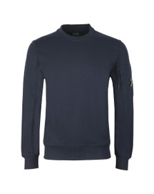 C.P. Company Mens Blue Detailed Neck Crew Neck Sweatshirt