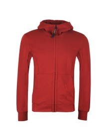 C.P. Company Mens Red Full Zip Goggle Hoody