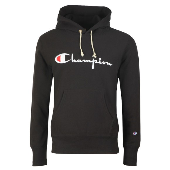 Champion Reverse Weave Mens Black Script Logo Overhead Hoody main image