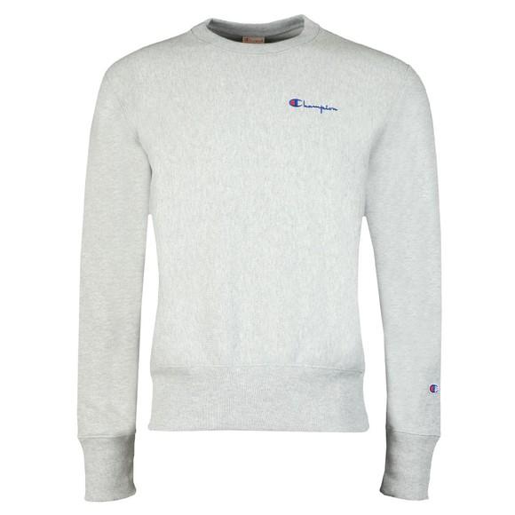 Champion Reverse Weave Mens Grey Small Script Logo Sweatshirt