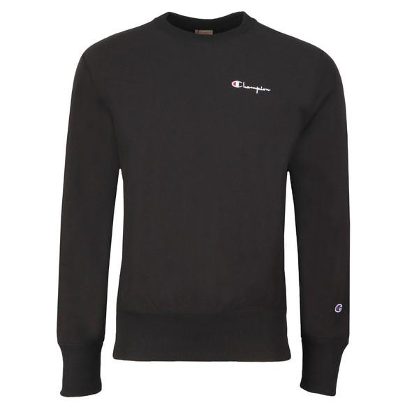 Champion Reverse Weave Mens Black Small Script Logo Sweatshirt