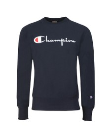 Champion Reverse Weave Mens Blue Script Logo Sweatshirt