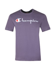 Champion Reverse Weave Mens Purple Script Logo T-Shirt