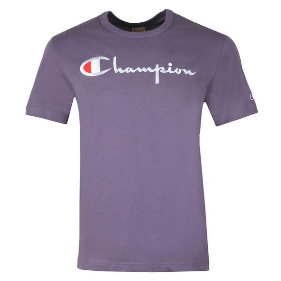 Champion Reverse Weave Mens Purple Script Logo T-Shirt