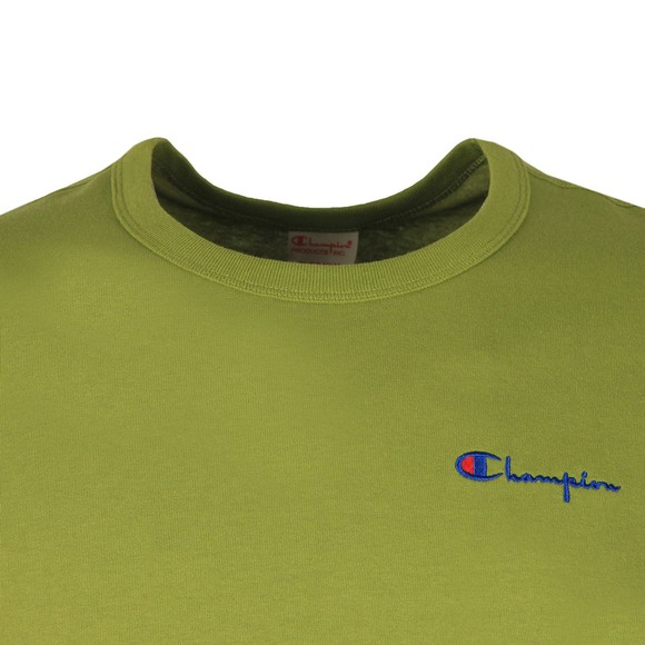 Champion Reverse Weave Mens Green Small Script Logo T-Shirt main image