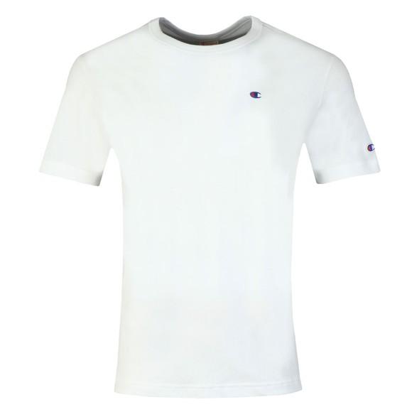 Champion Reverse Weave Mens White Small Logo Back Script T Shirt