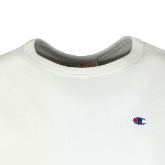 Champion Reverse Weave Mens White Small Logo Back Script T Shirt main image