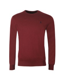 Polo Ralph Lauren Mens Red Crew Neck Cotton Knitted Jumper