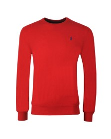 Polo Ralph Lauren Mens Red Waffle Crew Neck Sweat