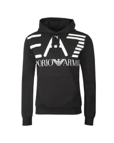 EA7 Emporio Armani Mens Black Large Logo Overhead Hoody
