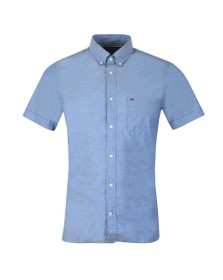 Tommy Hilfiger Mens Blue Slim Summer Poplin SS Shirt