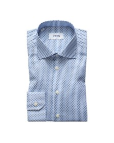 Eton Mens Blue Multi Floral Pattern Shirt