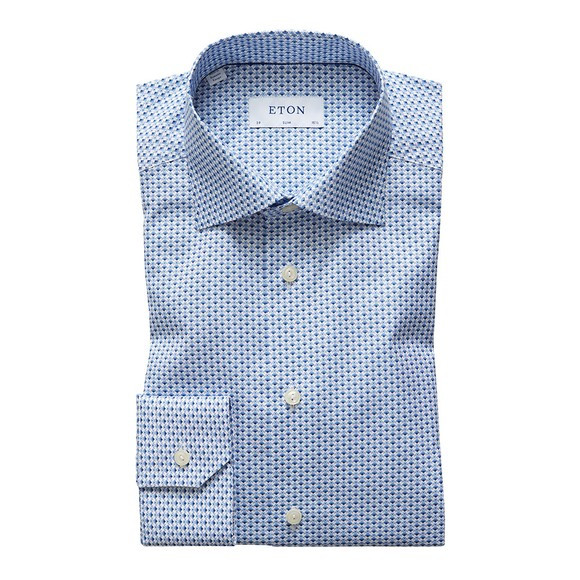 Eton Mens Blue Multi Floral Pattern Shirt