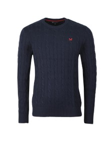 Crew Clothing Company Mens Blue Regatta Cable Crew Jumper