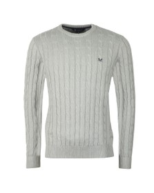 Crew Clothing Company Mens Grey Regatta Cable Crew Jumper