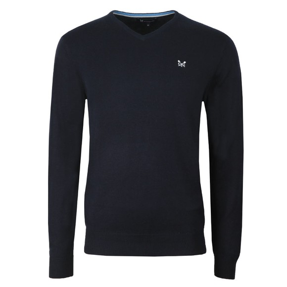 Crew Clothing Company Mens Blue Foxley V Neck Jumper