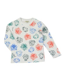 Kenzo Kids Boys White Geordie Crazy Jungle Long Sleeve T Shirt