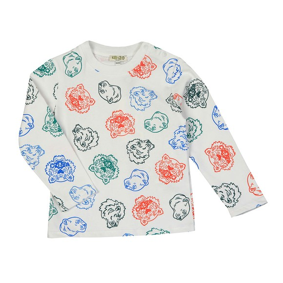 Kenzo Kids Boys White Geordie Crazy Jungle Long Sleeve T Shirt main image