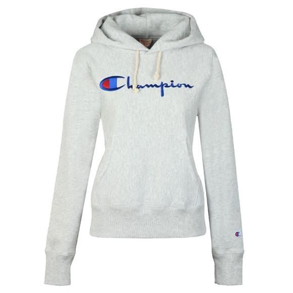 Champion Reverse Weave Womens Grey Script Logo Overhead Hoody