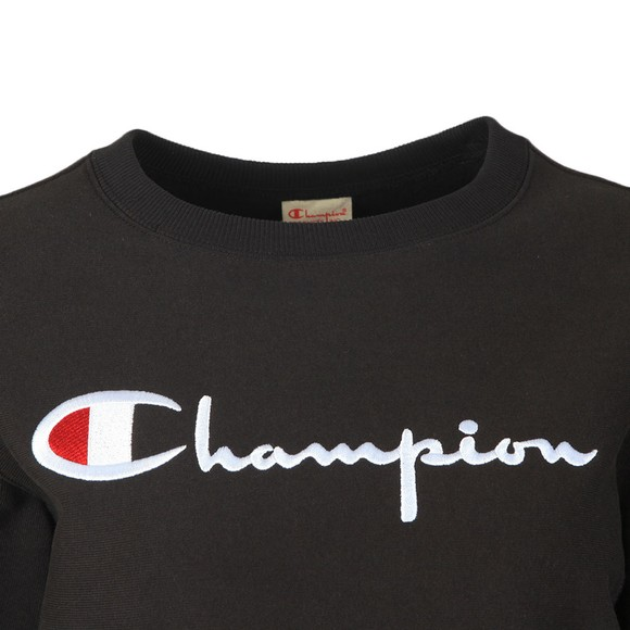 Champion Reverse Weave Womens Black Large Script Logo Crew Sweatshirt