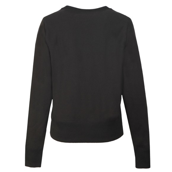 Champion Reverse Weave Womens Black Large Script Logo Crew Sweatshirt main image
