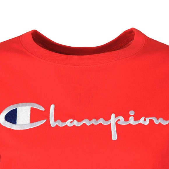 Champion Reverse Weave Womens Red Large Script Logo T Shirt