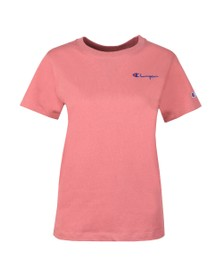 Champion Reverse Weave Womens Pink Small Script Logo Tee