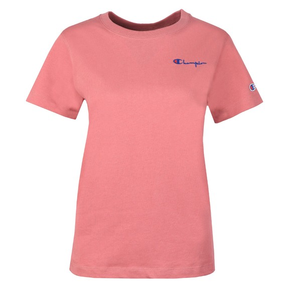 Champion Reverse Weave Womens Pink Small Script Logo T-Shirt