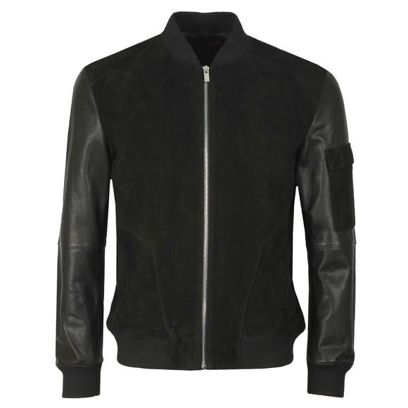 HUGO Mens Black Lunis Leather Jacket