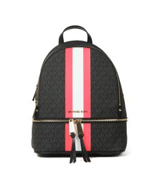 Michael Kors Womens Black Rhea Stripe Mid Backpack