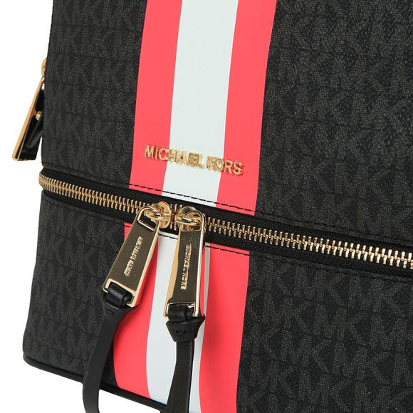 Michael Kors Womens Black Rhea Stripe Mid Backpack main image