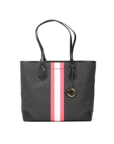 Michael Kors Womens Black Eva Large Stripe Tote Bag