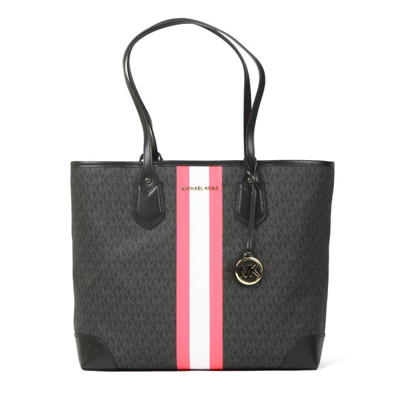 Michael Kors Womens Black Eva Large Stripe Tote Bag main image