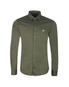 BOSS Mens Green Casual Mypop Plain Shirt