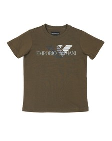 Emporio Armani Boys Green Boys 6G4DJD Large Logo T Shirt