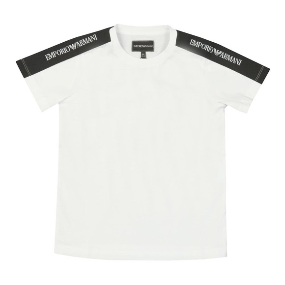 Emporio Armani Boys White Boys Tape Sleeve Logo T Shirt