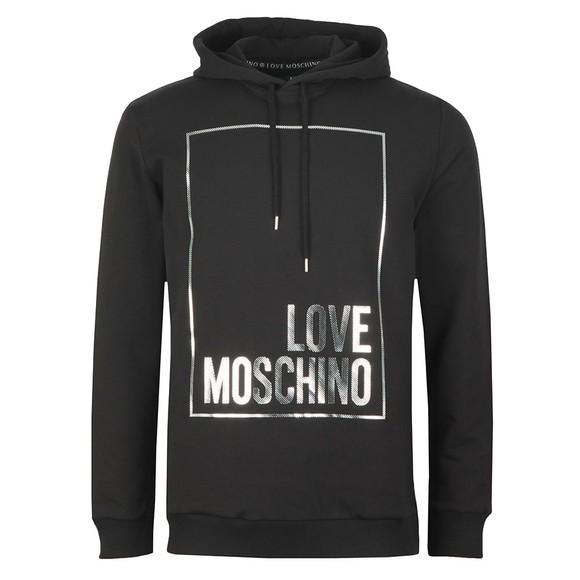 Love Moschino Mens Black Metallic Box Logo Hoody