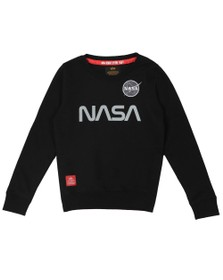Alpha Industries Boys Black Boys Nasa Reflective Sweatshirt