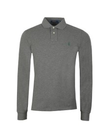 Polo Ralph Lauren Mens Grey Long Sleeve Slim Fit Polo Shirt
