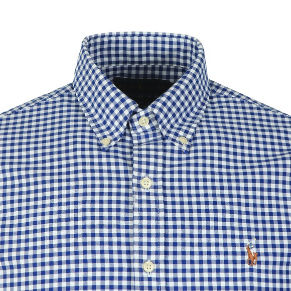Polo Ralph Lauren Mens Blue Slim Fit Check Oxford Shirt