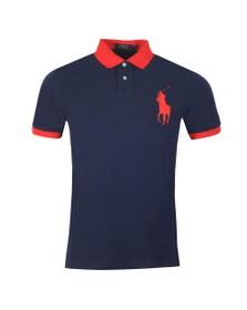 Polo Ralph Lauren Mens Blue Big Polo Player Contrast Collar Polo Shirt